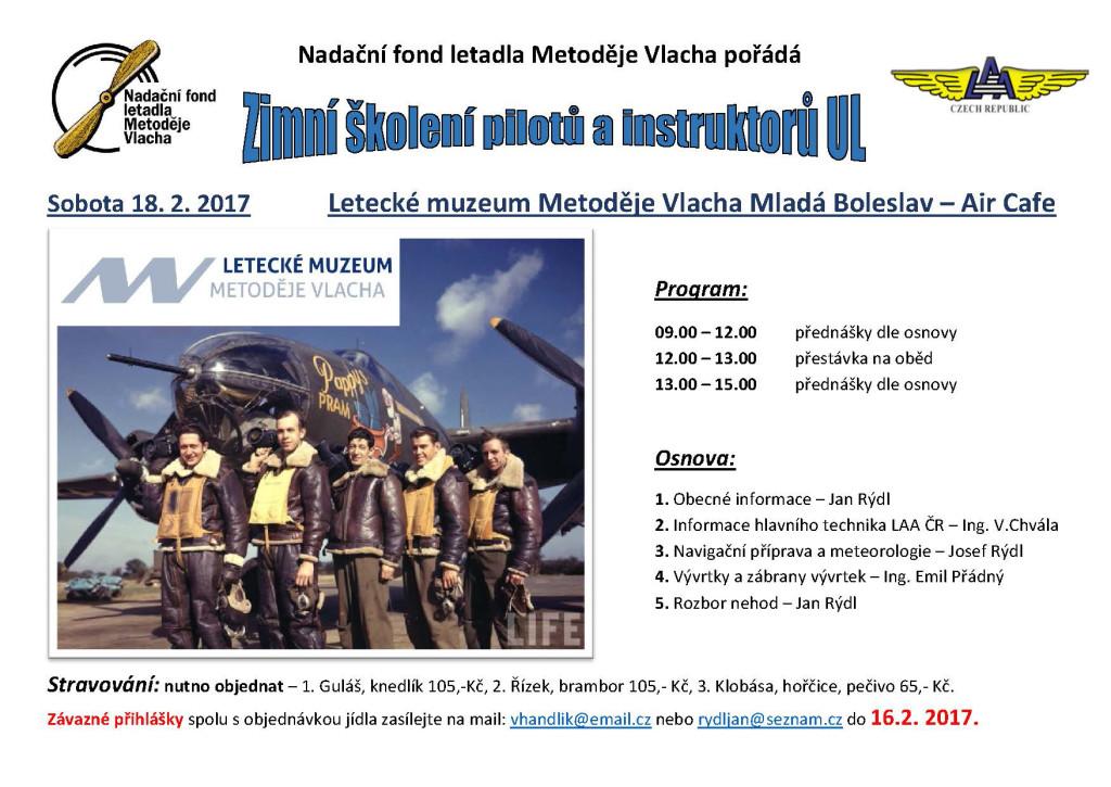 Zimní školení pilotů UL 2017 - pozvánka